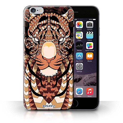 Coque en plastique pour iPhone 6+/Plus 5.5 Collection Motif Animaux Aztec - Loup-Cramoisi Tigre-Orange