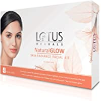 Lotus Natural Glow Facial Kit for natural-looking glowing skin, with 5 easy steps, 200g (4 use)