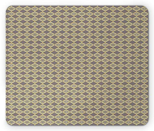 ASKSSD Tribal Mouse Pad, Geometric Motifs with Bullseye Pattern Rhombuses Abstract, Standard Size Rectangle Non-Slip Rubber Mousepad, Warm Taupe Yellow and Pale Yellow