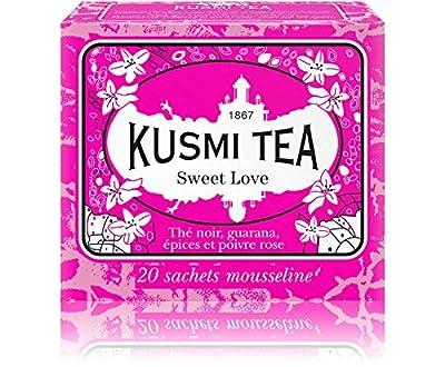 Kusmi Tea -Thé Bien-Être Sweet Love - Mélange Aromatisé de Thé Noir, Poivre Rose, Guarana et Epices - Aussi Idéal en Thé Glacé - Boîte de 20 sachets en PLA produits en France