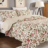AYSW 3 Teilig geeignet für das ganze Jahr Tagesdecke | Bettwäsche Baumwolle 220×240cm Bunter Blumenstickerei Soft Deckbett mit 2 Kissenbezügen 50×70cm