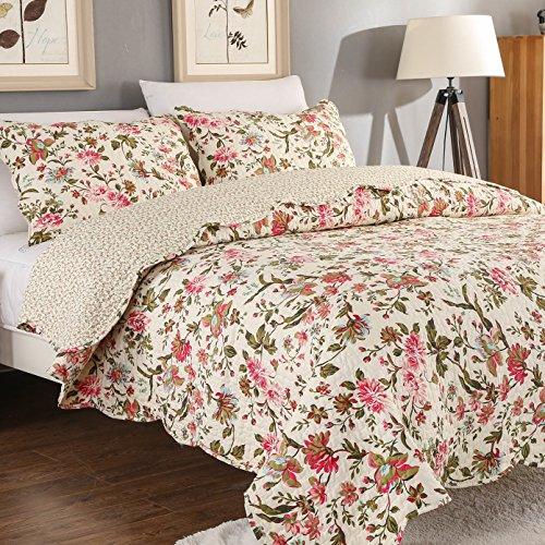 AYSW 2 Teilig geeignet für das ganze Jahr Tagesdecke | Bettwäsche Baumwolle 150×200cm Bunter Blumenstickerei Soft Deckbett mit 1 Kissenbezügen 50×70cm (Hand Gesteppte Bettdecken)