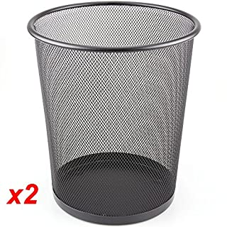 ABN Finest Black Mesh Waste Paper Rubbish Bin Metal Small for Office, Living Rooms, Bedrooms 2 Packs H27 x W24 x D27 CM - 10L
