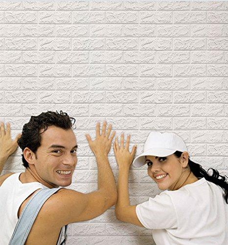 3D Wandpaneele Steinoptik, NHSUNRAY 3D Brick Muster Tapete, Wasserdicht Stereo Wandtattoo Papier Abnehmbare selbstklebend Tapete für Schlafzimmer Wohnzimmer Moderne Tv Wände Schlafzimmer Kinderzimmer Wohnzimmer Badezimmer oder Küche Dekor (60 x 60 cm, Weiß,20 Stück)