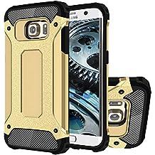 Galaxy S6 Edge Funda, HICASER Híbrida Case [Heavy Duty] Rugged Armor Cover, Dual Layer Shock Resistant Carcasa para Samsung Galaxy S6 Edge Dorado