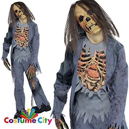 Kostüm Jungen Zombie - Zombie Gr. 164 162 Skelett Halloween Kostüm Kinder Halloweenkostüm Kinderkostüm Zombiekostüm