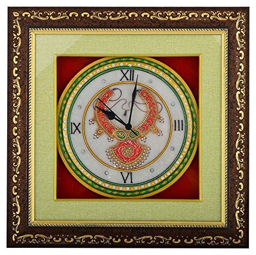Saudeep India Trading Corporation Marble Wall Clock (SIWCNCGR6, 38 cm x 38...