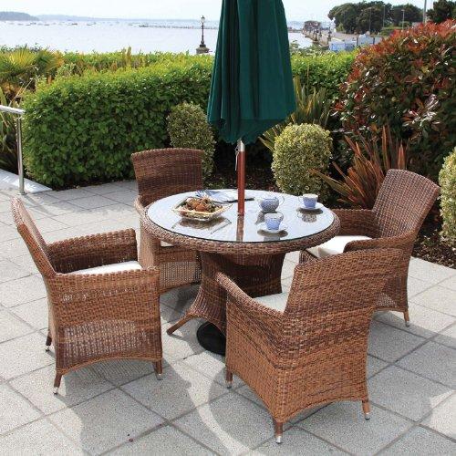 Outdoor Patio-möbel-set (Oseasons cb002set-pan-4-jh Panama Garten Patio Outdoor Rattan Möbel Set von 4Stühle und Tisch rund)