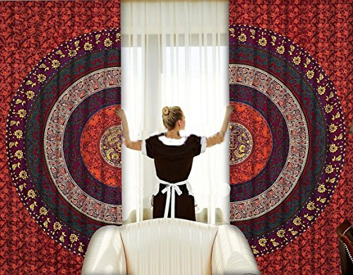 Sophia Art indischen Sechs Farbe Mandala Print Küche Gardinen Vorhang & Querbehang Set Wohnheim...