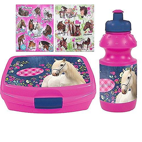 2 tlg. Pferde Set - Brotdose + Trinkflasche + 16 Pferde Aufkleber - Motiv: I love Horses - für Schule, Sport, Reitunterricht oder Kindergarten