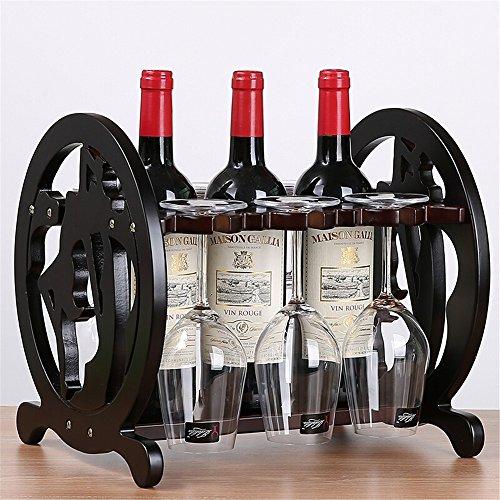 BEIQI Wine Rack europäische Rote Glas Rack invertiert Sake Flaschen Stehen Schaukel, in Massivholz Kreative Wein Display Rack Rakete aus Holz Weinregal, B (Stehen Glas-elemente)