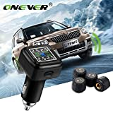 ONEVER Funk-Kfz-Reifendruck-Alarm-Monitor-System TPMS LCD-Anzeigen-Auto 4 Externer Sensor Temperaturalarm Zigarettenanz¨¹nder