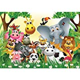 Vlies Fototapete PREMIUM PLUS Wand Foto Tapete Wand Bild Vliestapete - JUNGLE ANIMALS PARTY - Kinderzimmer Kindertapete Dschungel Zoo Tiere Giraffe Löwe Affe - no. 013, Größe:300x210cm Vlies