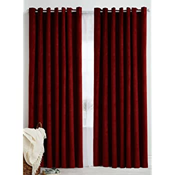 GeoNature Polyester Window Maroon Curtains set of 2 Size (4x5Feet) G2CR5F-42