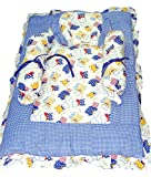 Baby Basics Baby's Cotton Bedding Set, 0-12 Months (Blue and White)