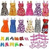 HTIANC Ropas para Muñecas Barbie, Accesorios de la Muñeca Hecho a Mano, 12 Vestido, 12 Pares de Zapatos, 12 Perchas De Ropa, Regalo de Cumpleaños para Chicas