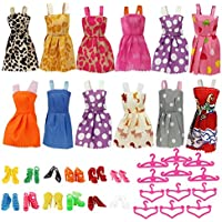 Barbie Dolls Clothes,Htinac 12 Dresses,12 Paris of Shoes,12 Hangers Accessories Dressing, Fashion 12-sets Different Style Doll Party Dress Clothes for 18 inch Girl's (36 Pieces)