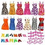 Barbie Dolls Clothes,Htinac 12 Dresses,12 Paris of Shoes,12 Hangers Accessories Dressing, Fashion 12-sets Different Style Doll Party Dress Clothes for 18 inch Girl