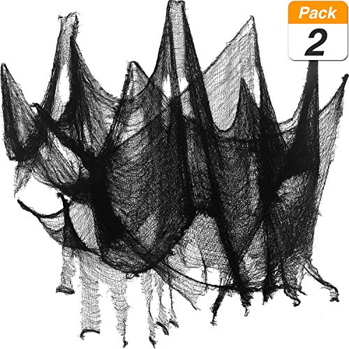 2-Pices-Tissu-Effrayant-Halloween-Polyester-Dcorations-Tissu-Effrayant-de-Taille-Chiffon-Effrayant-Halloween-Articles-de-Fte-Noir-8-Yards-x-30-Pouces