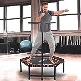 ISE Fitness Trampolin,Trampolin für Jumping Fitness Ø 120 cm höhenverstellbarer Haltegriff(113.5-134.5cm),leise Gummiseilfederung,Nutzergewicht bis 150kg,TÜV-Geprüft SY-1105