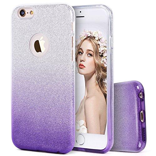 Imikoko iPhone 6 / 6S Hülle (4,7 Zoll), Glitzer Schutzhülle [Weiche TPU Abdeckung + Glitzer Papier + PP innere Schicht] [DREI in Einem] Hülle für iPhone 6 6S(Farbverlauf Lila, 4.7