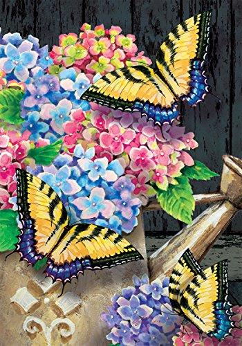 Hortensie Schmetterlinge-Garten Größe, dekorativen doppelseitig, lizenzierte und urheberrechtlich geschützt Flagge-Made in USA von Custom Decor INC. 30,5x 45,7cm ca.