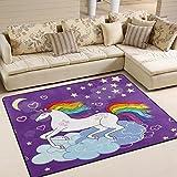 Use7 Mond-/Stern-/Einhorn-/Regenbogen-Teppich mit Herz-Motiv, für Wohnzimmer, Schlafzimmer, Textil, Mehrfarbig, 160cm x 122cm(5.3 x 4 feet)