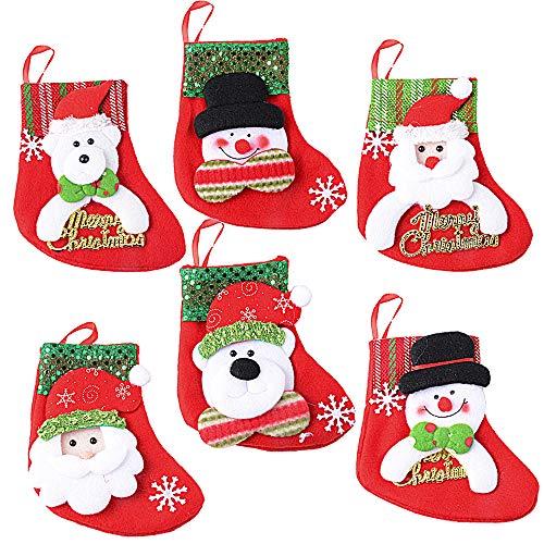 6 Stück Weihnachtsstrümpfe Socken Nikolausstiefel zum Befüllen und Aufhängen Weihnachten Bestecktasche Besteckhalter Weihnachtsmann Schneemann Bärchen Weihnachtsdeko Weihnachtsbaumschmuck Christmasbaumschmuck