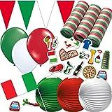 324-teiliges Dekoset * Italien * für Eine Länder-Party // mit Wimpelkette + Flaggen + Picker + Lampions + Luftballons + Luftschlangen + Konfetti // Deko Dekoration Set Mottoparty Italy