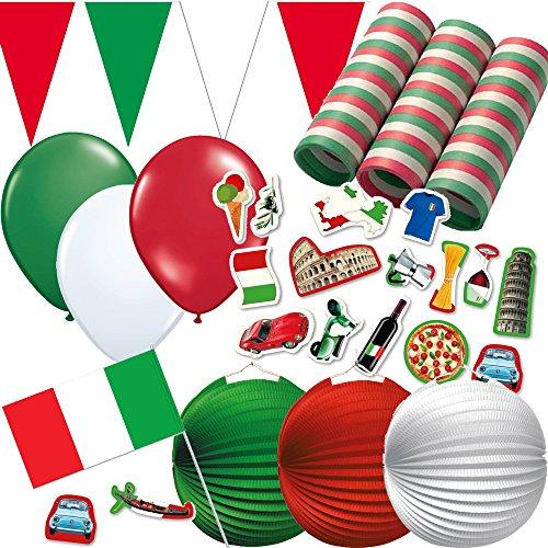 Preisvergleich Produktbild 324-teiliges Dekoset * ITALIEN * für eine Länder-Party // mit Wimpelkette + Flaggen + Picker + Lampions + Luftballons + Luftschlangen + Konfetti // Deko Dekoration Set Mottoparty Italy
