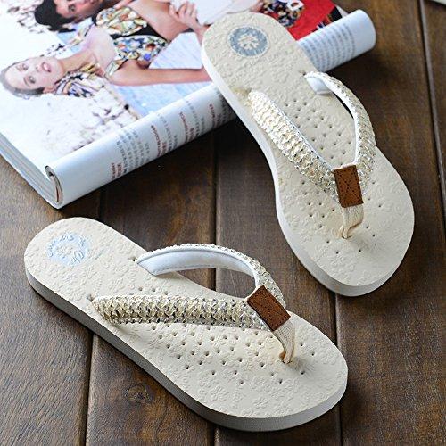 Estate Sandali Pantofole di moda estate Pattini sabbia scivolosa femminile Pantofole fredde piatte donna Nero Marrone Bianco Colore / formato facoltativo Bianca