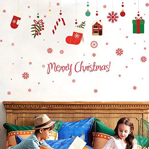 JinTie Hanging Ornaments Christmas Gift box selbstklebend Wall Sticker Glas-store Shopping dekorative Fenster Szene mit Plakaten, in der Nähe von etwa 180 cm hohen-102cm, König