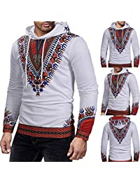 BUSIM Men's Long Sleeve Sweater Autumn Winter Multicolor African Personality Print Pullover Casual Slim Hooded...