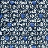 byGraziela Stoff Sweat Blätter Sweat Stoff zum nähen (Jeansblau)