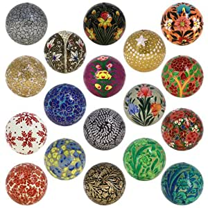 Buy set of 18 paper mache ball christmas ornaments - Buy christmas decorations online india ...