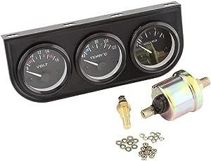 Suuonee Mehrfachanzeige 52mm Dreifach Anzeigen 3 In 1 Multimeter Wassertemperaturanzeige Öldruckmesser Mit Sensor Für Pkw Lkw Auto