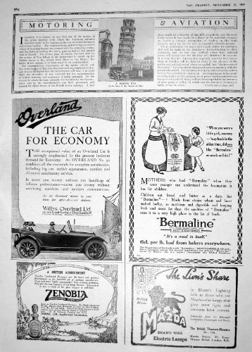 Price comparison product image Old Original Antique Victorian Print 1918 Napier Motor Car Tower Pisa Overland Zenobia Mazda Lamp 564M198