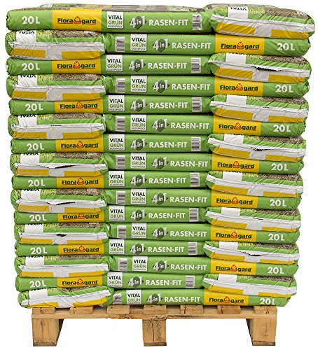 Floragard 4 in 1 Rasen-Fit 48 x 20 L für 480m² auf Palette, Rasenerde, Rasensubstrat zur Neuanlage, Ausbesserung u. Pflege des Rasens o. im Anschluss an das Vertikutieren