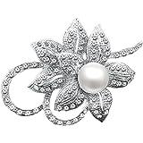Merdia con clase de la flor broche Creado con Brillante de cristal y perlas Creado para la boda de Navidad o fiesta de gradua