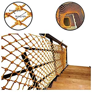 LHF Safety Nets,Mesh Child Safety Net Balcony Protection Net for Kids Fence Stair Kid Pet Cat Goods Decor Netting Hand-Weaving Net Rope Yellow Indoor Multi-Size,5x8m   1
