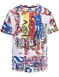 Graffiti 3D fresco camiseta de la impresión de manga corta de verano tes de las tapas