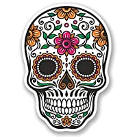 2 x Sugar Skull Vinyl Sticker Decal iPad Laptop Car Bike Helmet Girls Gift #4675 (7cm Wide x 10cm Tall)
