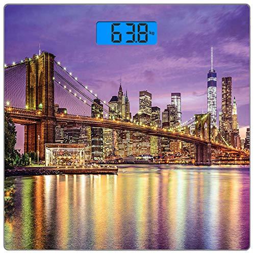 Präzisions-Digital-Körpergewichtswaage New York Ultradünne Personenwaage aus gehärtetem Glas Genaue Gewichtsmessungen, exquisite Skyline von NYC Manhattan Broadway Old Neighbourhood Tourist Country Pr