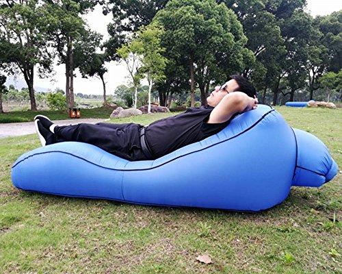 Emsems Aufblasbare Liege Couch mit Tragetasche Strandliege Luft Sofa Aufblasbare Couch Bett Pool Float für Indoor/Outdoor Wandern Camping, Strand, Park, Hinterhof Wasserdicht Durable (Farbe : Blau)