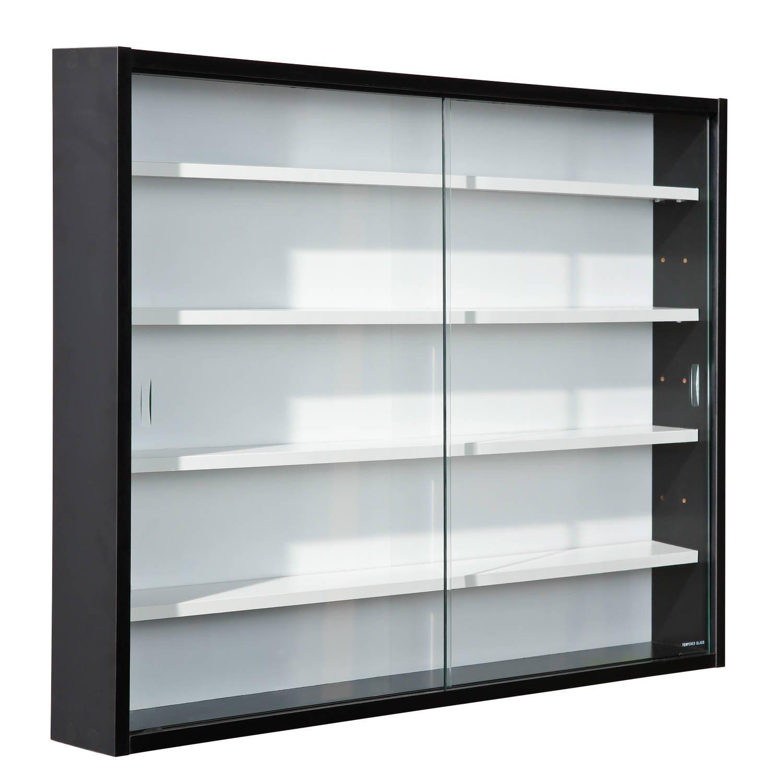 Storage Display Cabinet Modern Shelves Wall Glass Case Box ...