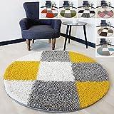 Flauschiger Teppich Langflor Hochflor Shaggy Teppiche Modern Wohnzimmer Flokati Kariert Karo | verschiedene Maße | Kinderzimmer & Jugendzimmer geeignet | Schadstofffrei (Gelb, Rund 120 x 120 cm)