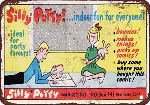 metal-wall-sign-1965-silly-putty-indoor-divertimento-per-tutti-vintage-look-reproduction-metal-tin-s
