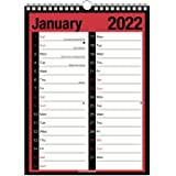 2022 Calendar Holidays and Notable Dates A4 Large Extra Wide 2 Column Month Week To View Wall Planner Spiral Bound
