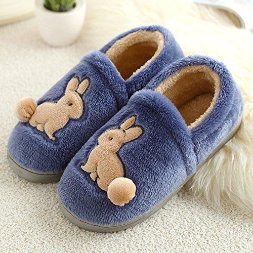 DogHaccd pantofole,Il cotone pantofole pacchetto femmina con una camera da letto, un antiscivolo cartoon spessa incantevole soggiorno di un paio di scarpe di cotone caldo maschio Blu grigio3