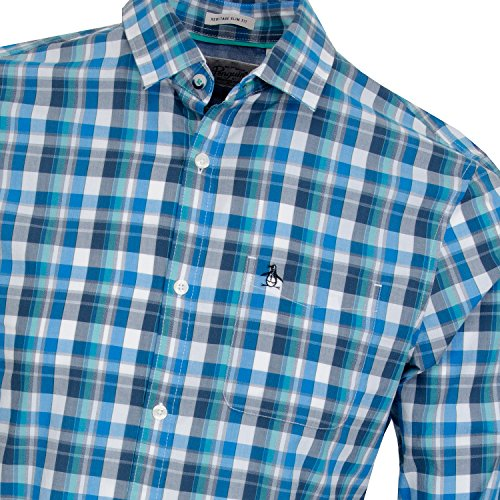 Original Penguin P55 Jaspe Plaid, Chemise Casual Homme Diva Blue